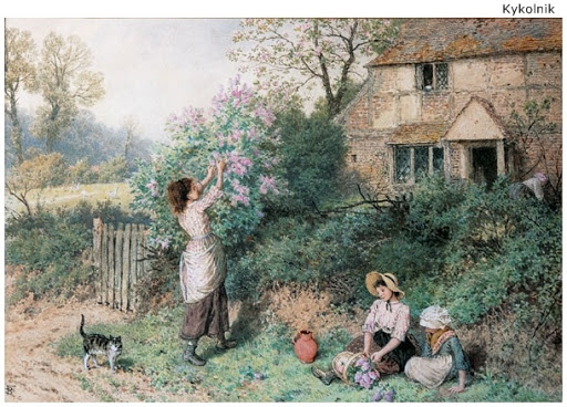 Lilac Gathering. Miles Birket Foster