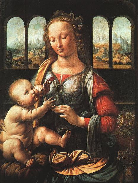 Madonna of the Carnation. Leonardo da Vinci. Alta Pinakothek Munich.